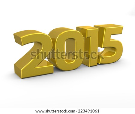 Isolated golden 2015 on white background - stock photo