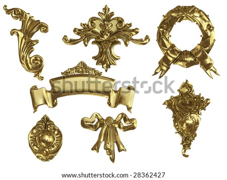 isolated golden ornament
