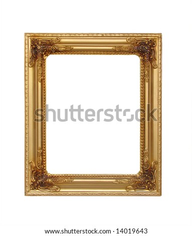 isolated golden rectangle frame for picture - stock photo