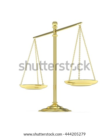Isolated golden scales on white background. Symbol of judgement. Law, measurement, liberty in one concept. 3D rendering. - stock photo