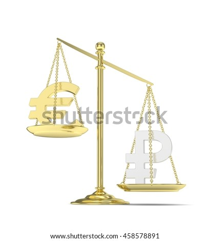 Isolated golden scales with golden euro and silver ruble currency. Russian and european finance. Measuring of market stability. 3D rendering.