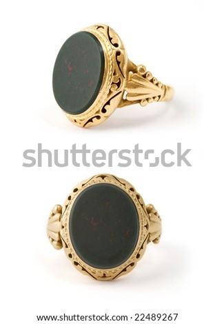 isolated golden signet-ring in two views - stock photo
