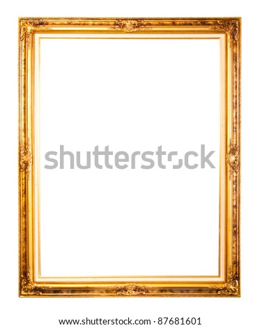 Isolated golden wood Photo Frame on white background - stock photo