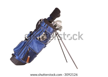 Isolated golf bag with clubs and glove (cut out) - stock photo