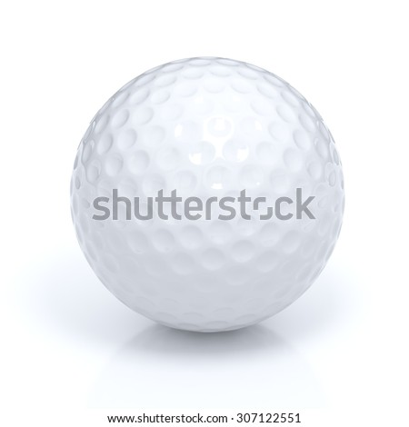 Isolated golf ball with clipping path - stock photo