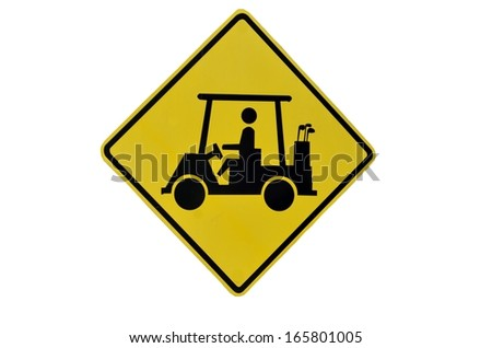 Isolated Golf Cart Crossing sign - stock photo