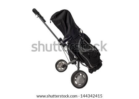 Isolated golf Equipment cart - stock photo
