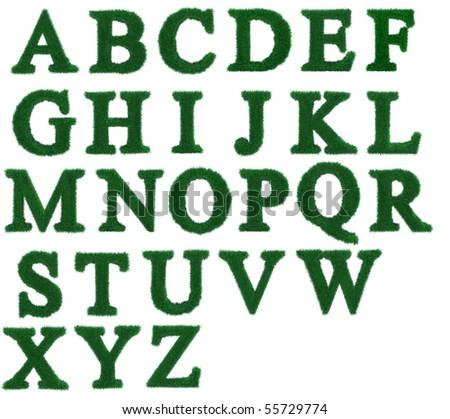 Isolated grass alphabet on white background - stock photo