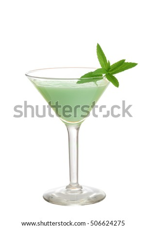 isolated grasshopper cocktail with mint
