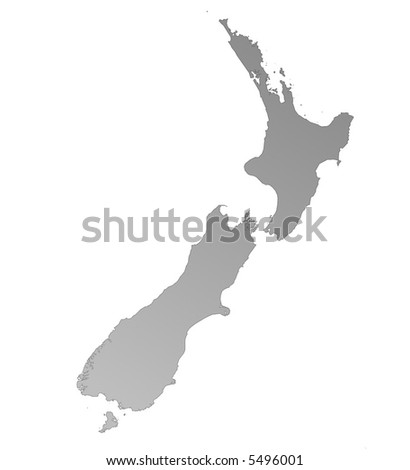 Isolated gray gradient map of New Zealand
