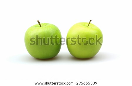 Isolated green apple - stock photo