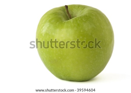 Isolated green apple on a white background.