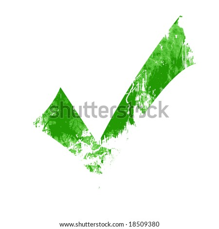 Isolated green approved tick on a solid white background