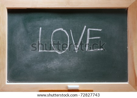 isolated green blackboard close up - stock photo