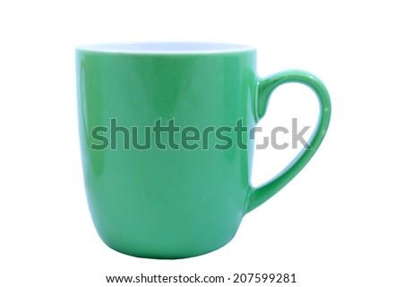 Isolated Green Coffee Mug - stock photo