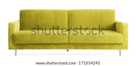 isolated green couch  - stock photo