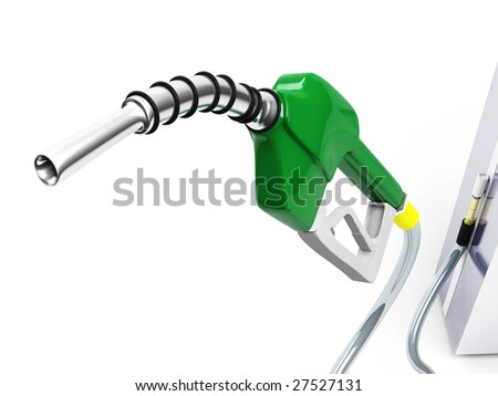 Isolated Green Gas Pump Nozzle - stock photo