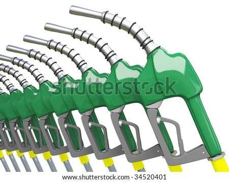 Isolated Green Gas Pump Nozzles - stock photo