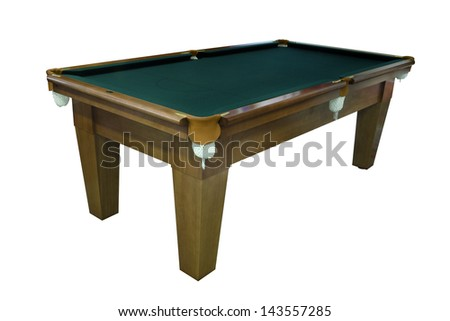 Isolated green pool billiard snooker table - stock photo