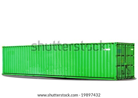 Isolated green shipping container. - stock photo