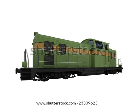 isolated green train over white background