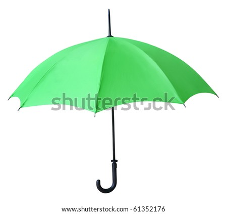 Isolated green umbrella - stock photo