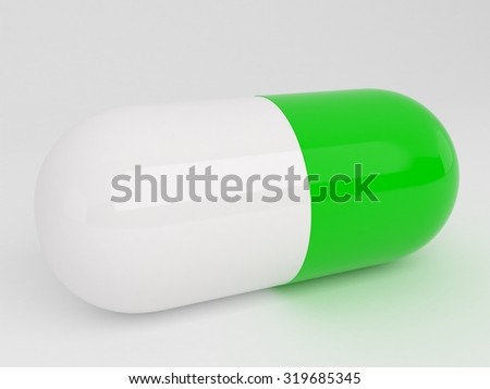 Isolated green white pill - stock photo
