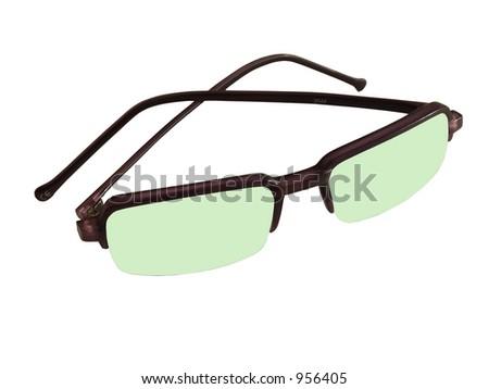 Isolated gren sunglasses - stock photo