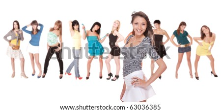 isolated group of beautiful young women over white background - stock photo