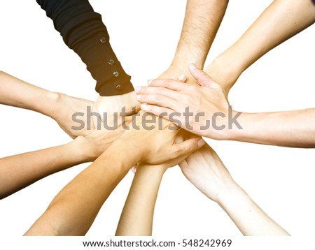 Isolated group of diverse hands together joining, teamwork concept, business concept