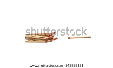 Isolated group of matchstick on white background