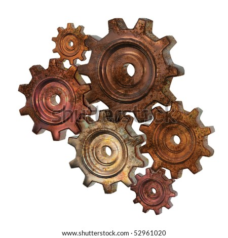 isolated group of rusty gears - stock photo
