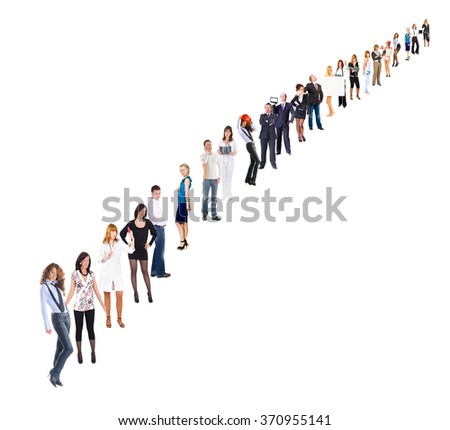 Isolated Groups People Order  - stock photo