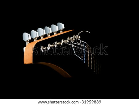 isolated guitar neck with head - stock photo