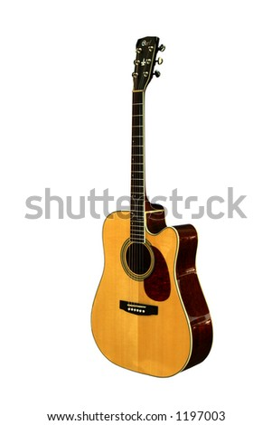 Isolated guitar on a white background. - stock photo