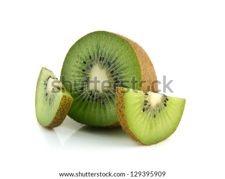 Isolated half of kiwi with two slices (white background). Fresh diet fruit. Healthy fruit with vitamins.
