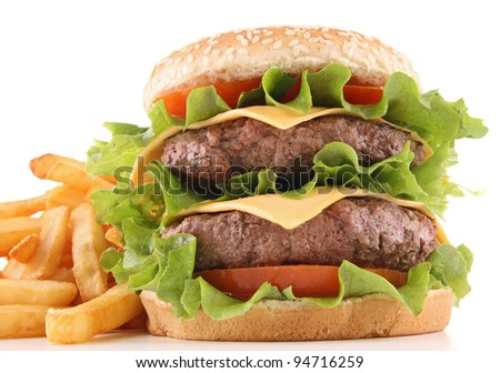 isolated hamburger