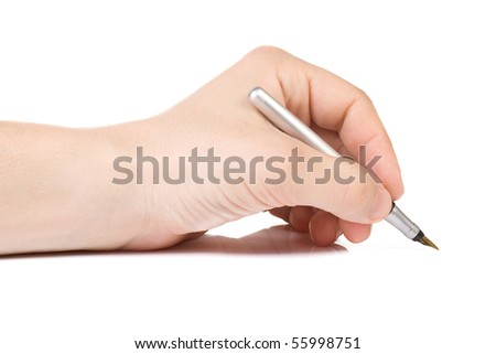 isolated hand and pen on white