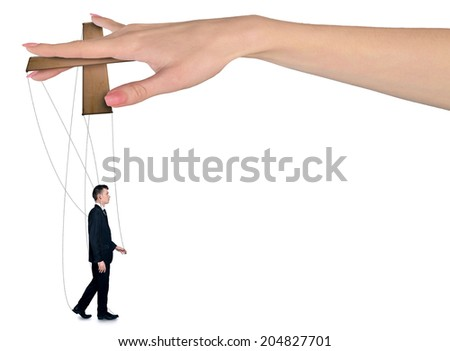 Isolated hand control business man - stock photo