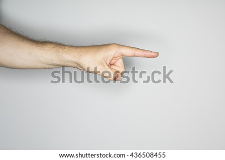 isolated hand gesture, photographed with ring flash