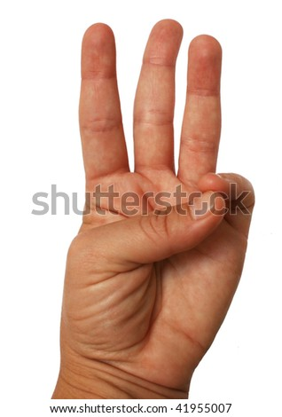 isolated hand giving a scouts promise sign