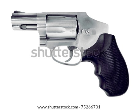 Isolated hand gun on a white background. See all firearm-related photos from this collection at: http://www.shutterstock.com/sets/22007-guns.html?rid=70583 - stock photo