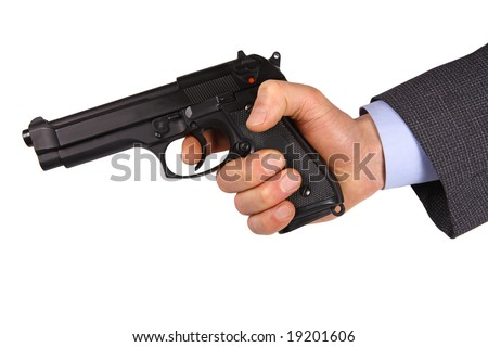 isolated hand hold pistol background - stock photo