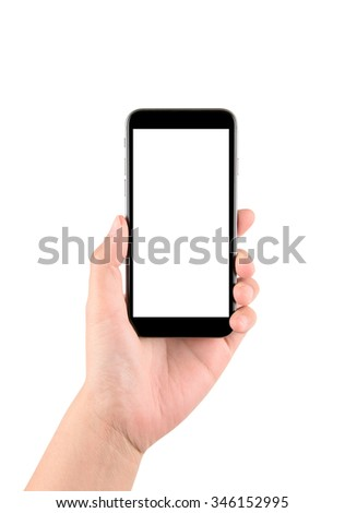 Isolated hand holding a phone with white screen - stock photo