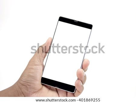 Isolated hand holding a phone with white screen on white background