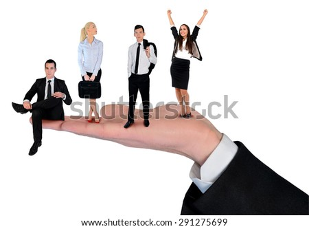 Isolated hand holding business team