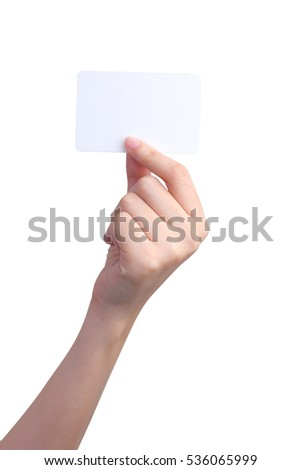 Isolated Hand holding card
