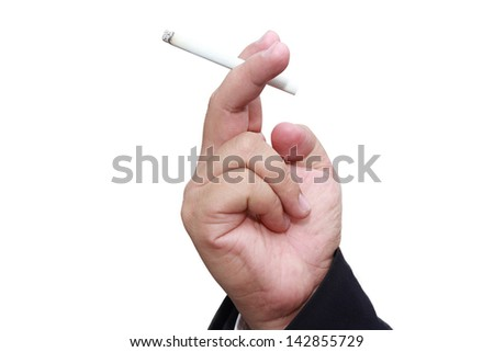 isolated hand holding cigarette in white background - stock photo