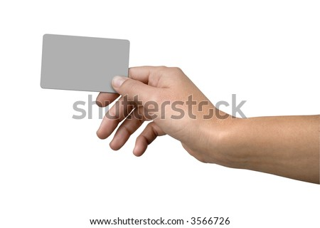 Isolated hand holding credit card clipping paths included - stock photo