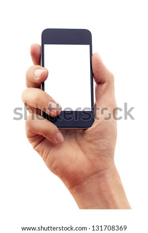 isolated hand holding smartphone or phone, two clipping path is in jpg, hand outline and the phone screen. - stock photo